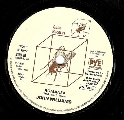 JOHN WILLIAMS Romanza Vinyl Record 7 Inch Cube 1978